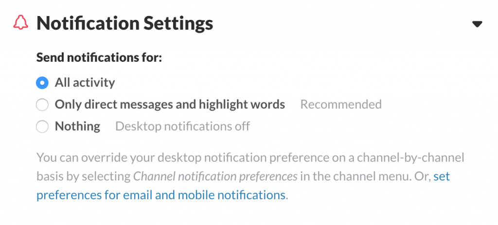 Slack Notifications Preferences