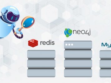 robot looking at redis, neo4j and MySQL